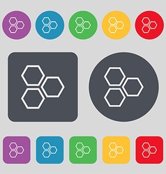 Honeycomb icon sign a set of 12 colored buttons vector
