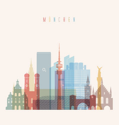 Munich skyline detailed silhouette vector