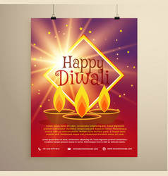 Happy diwali flyer template with glowing star and vector