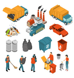 Isometric garbage recycling icon set vector