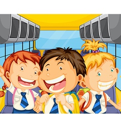 Happy kids inside the schoolbus vector image
