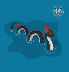 sea serpent in isometric style ocean monster vector image