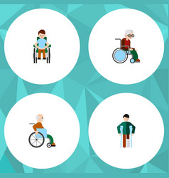 Flat icon handicapped set of wheelchair vector