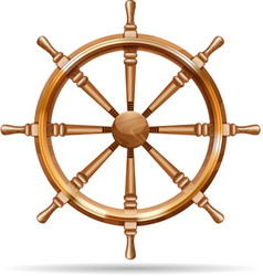 Antique wooden ship wheel vector