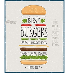 Best Burgers Poster vector image