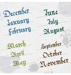 Months of the year hand writing gothic vector