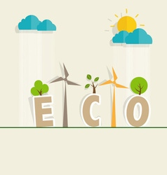 Eco friendly ecology concept with tree background vector