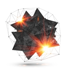 Abstract low poly black object with grid and fire vector