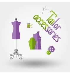 Tailor accessories icons vector