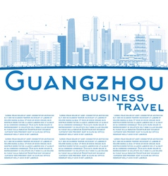 Outline guangzhou skyline with blue buildings vector