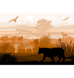 Nature with wild animals tiger zebra goat monkey vector