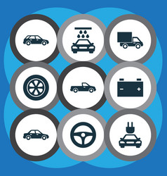 automobile icons set collection of wheel lorry vector image