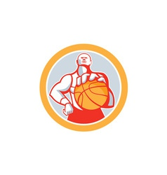 Basketball Player With Ball Circle Retro vector image
