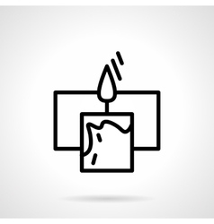 Black simple line candle with frame icon vector