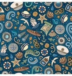 Cartoon nautical seamless pattern vector image vector image