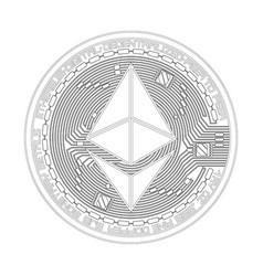 crypto currency ethereum black and white symbol vector image