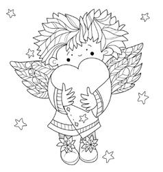 Cute angel heart valentin doodle vector