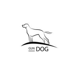 Dog symbol pet logo design gun dog standing vector