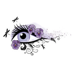 Eye floral beautiful spring vector