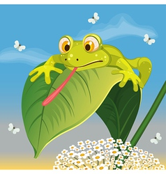 Frog catching butterfly vector