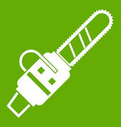 Gasoline powered chainsaw icon green vector