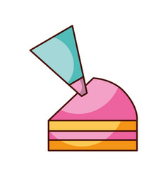 Half piece cake with icing bag cream decoration vector