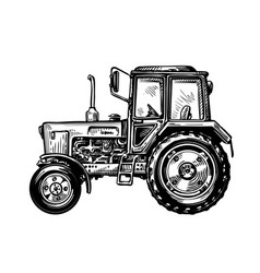 Hand-drawn farm truck tractor transport sketch vector