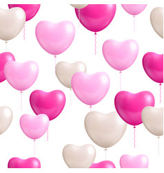 heart shaped balloons white background seamless vector image vector image
