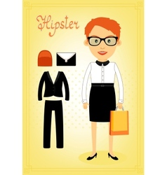 Hipster character elements for business woman vector image