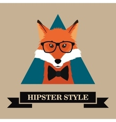 Hipster style fox image vector