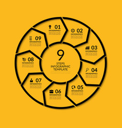 Infographic circle template with 9 steps vector image vector image