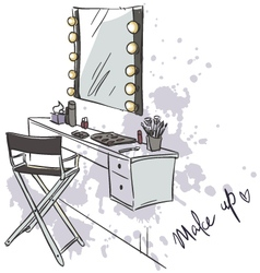makeup table vector image vector image