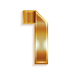 Number metal gold ribbon - 1 - one vector image vector image