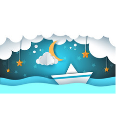 paper origami ship cloud star vector image