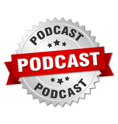 podcast round isolated silver badge vector image