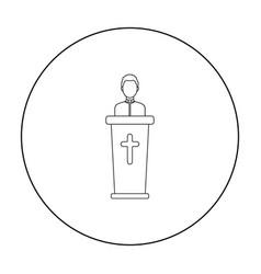 Priest icon in outline style isolated on white vector