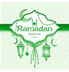 Ramadan Kareem abstract green background vector image vector image