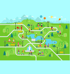 rest in the park map infographic elements in flat vector image