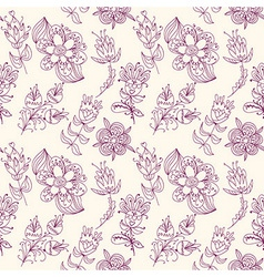 Seamless texture with contour flowers vector image