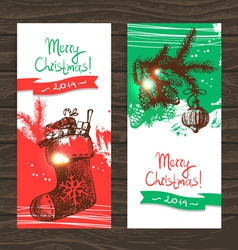 Set of Christmas banners Hand drawn vector image vector image