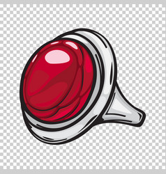 Silver ring with big red stone flat design web vector