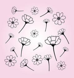 Sweet cosmos flowers hand drawn black flower vector