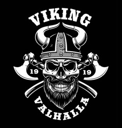 Viking skull with axes vector