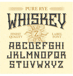 Whiskey label vintage font with sample design vector