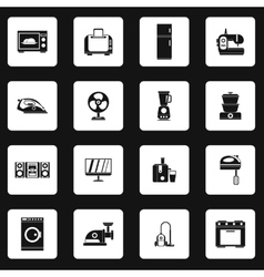 Household appliance icons set simple style vector image