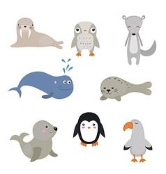 set of different arctic animals vector image