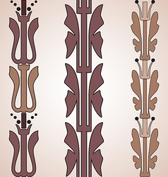 Vintage decorative set brown floral pattern vector