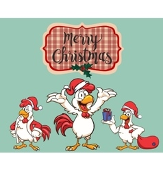 New year 2017 the rooster dressed as santa claus vector