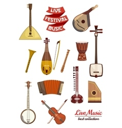Musical instrument cartoon icon set vector