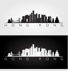Hong kong skyline and landmarks silhouette vector